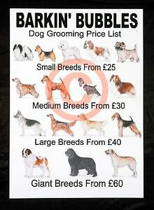 Dog Grooming Price Lists X 2 Personalised Stationery By