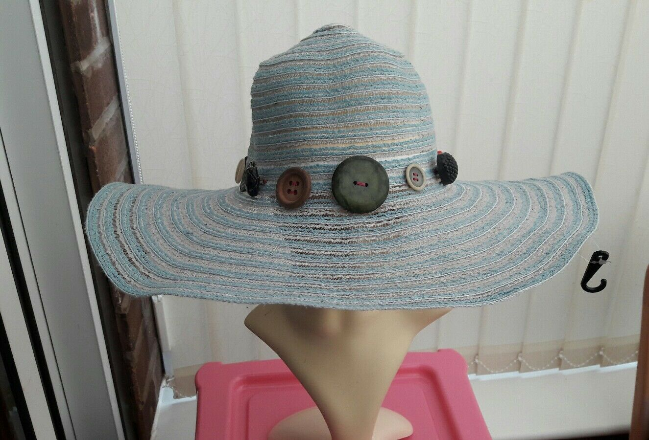 ladies Blue floppy summer hat one size with vintage Button