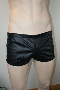 Mens-Black-Leather-Shorts-all-round-zip