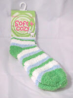 Slipper Fuzzy Striped Crew Socks Womens Green White Powder Blue Size 9-11 Soft