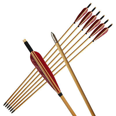 6Pcs Handmade Streamlined Red Turkeys Feather Wooden Arrows for Archery longbow