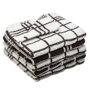 6-Pack-Terry-Cotton-Tea-Towels-Monocheck-Brown-Kitchen-Cleaning-Cloths-Towelogy