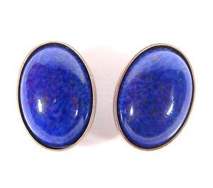SoHo-Ohrclips-vintage-altsilber-bohemia-oval-blue-lapis-handgemachte-Glassteine