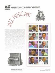 #465 29c Jazz Musicians #2984-2993 USPS Commemorative Stamp Panel