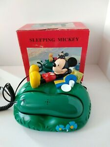 Disney-Mickey-For-Kids-Telephone-Sleeping-Mickey-90-039-s-Mickey-Mouse-in-Box-Rare
