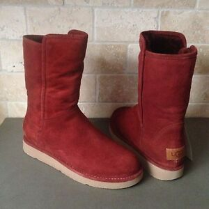 da6c10cc8e99 UGG ABREE COLLECTION SHORT RUST SUEDE SHEARLING WINTER BOOTS SIZE US ...