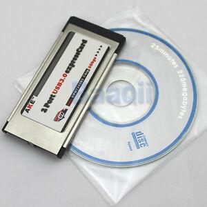 Express-Card-Karte-34mm-2-Port-USB3-0-Win7-kompatibel-fuer-Notebook-Laptop-ER