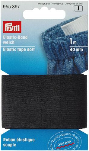 Prym Elastic-Band 1 m Bande élastique 955397 doux noir 40 mm