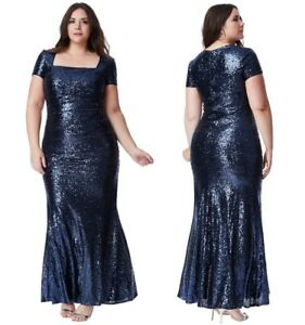bcc78cc8e4b2 Goddiva Navy Sequin Square Neck Evening Maxi Dress Bridesmaid Prom ...