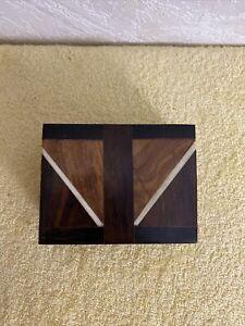 """vintage wood inlay box. 4 1/2"""" X 3 1/2"""".  2 1/4"""" Tall."""