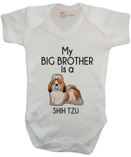 Baby Grow My Big Brother is A Shih Tzu Baby Vest Baby Playsuit