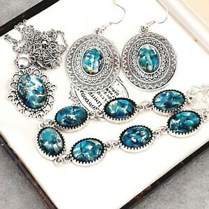 RARE-Vintage-Green-Blue-Fire-Opal-Glass-Bracelet-Pendant-amp-Large-Earring-Set