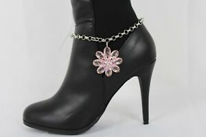 Cute Women Boot Bracelet Silver Metal Chain Shoe Charm Bling Pink Flower Jewelry