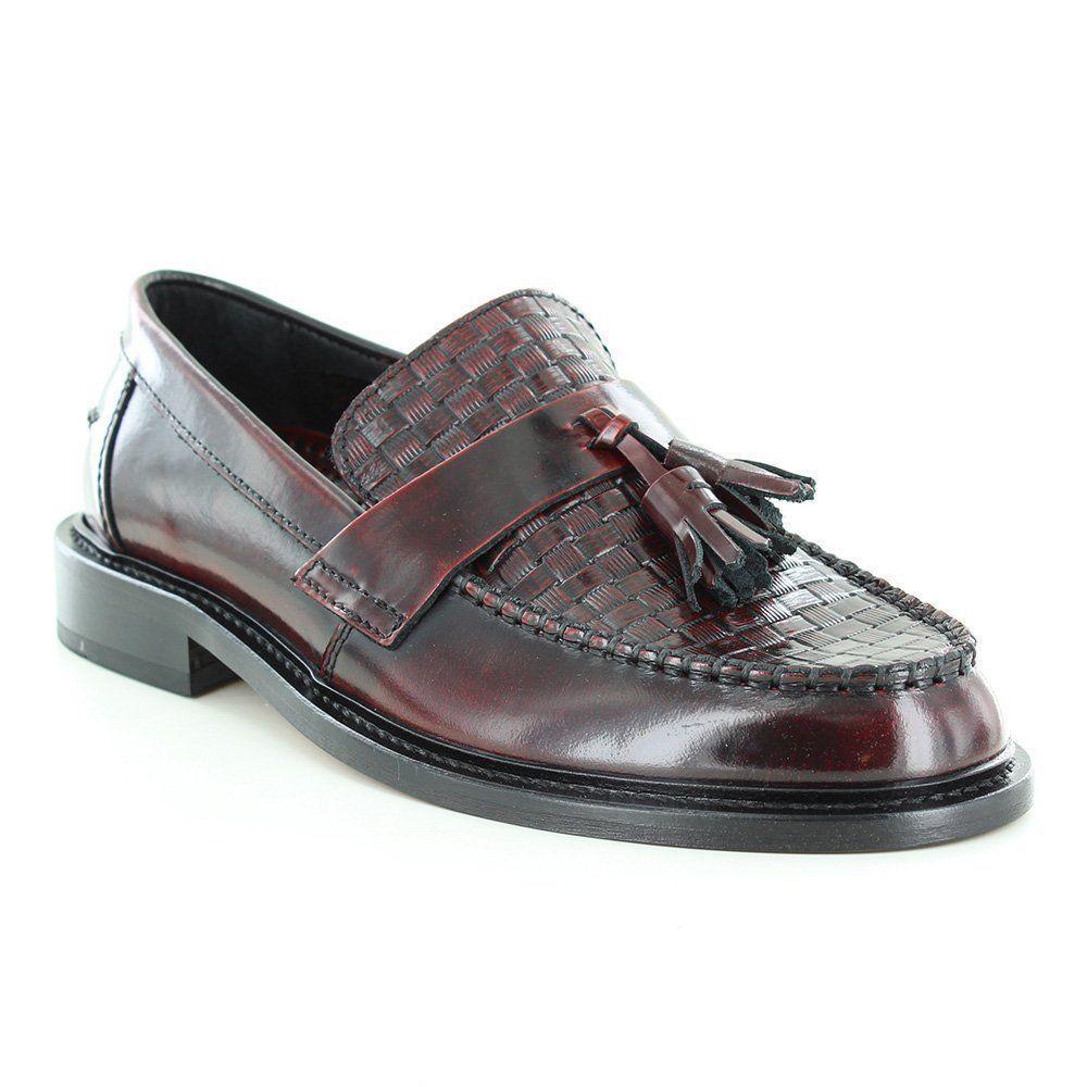 Mens Shoes Oxblood Tassel  Weaver Loafers  by IKON