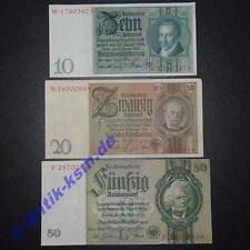 Lot 3 Banknoten deutsches Reich : 10 , 20 und 50 Mark / Reichsmark 1929 - 1933