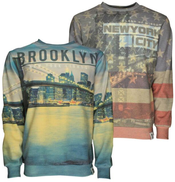 Mens Sweatshirt Soulstar Graphic New York Brooklyn Photo Print USA Top