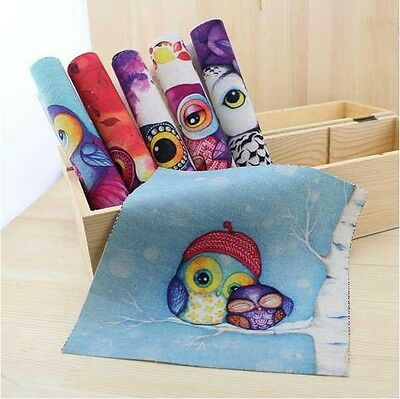 All Cute Owl 6 Assorted Retro Prints Linen Quilt Fabric Square Sewing Supply