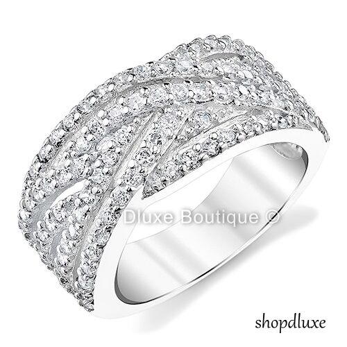 1.25 CT ROUND CUT CZ INFINITY WIDE BAND 925 STERLING SILVER WOMEN'S FASHION RING