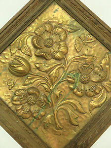 BEAUTIFUL REPOUSSE COPPER PICTURE WALL HANGING ANTIQUE FRENCH POPPIES BUTTERFLY