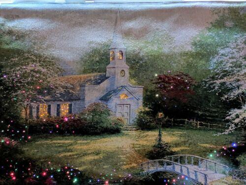 Thomas Kinkade LED Hometown Chapel  Wall Tapestry