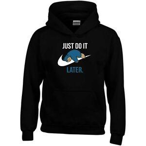 Details zu Just Do It Later Hoodie Parody Funny Joke Lazy Tick Swoosh Gift Sweatshirt Top