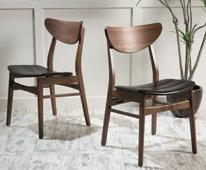 Set Of 2 Leather Dining Chairs Contemporary Wood Mid Century Modern