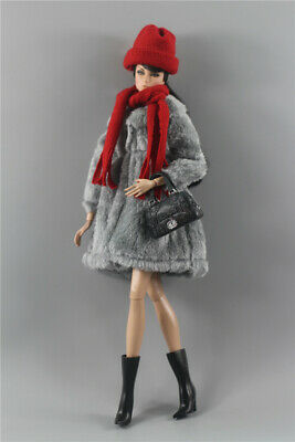 4in1 Fashion Grown Winter fur Coats Outfit+boot+bag+scarf For 11.5in.Doll