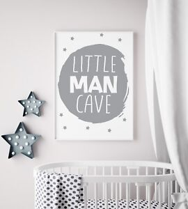 Little-Man-Cave-Circle-Grey-Nursery-Print-Kids-Room-Boys-Wall-Art-Picture-Gift