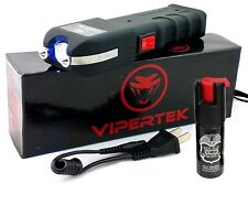 VIPERTEK VTS-989 - 78 BV Rechargeable LED Heavy Duty Stun Gun + Pepper Spray