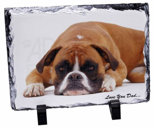 DAD-162SL Red Boxer Dog /'Love You Dad/' Photo Slate Christmas Gift Ornament