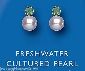 Smeraldo-Orecchini-Perla-Orecchini-Oro-Giallo-Bottone-Perla-d-039-acqua-dolce