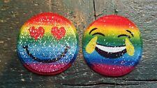 Patch Smiley Emoji Gesicht mit Wendepailletten Aufnäher bunt Applikation