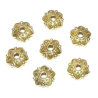 ML5115p Antiqued Gold 8mm Round Dotted 5-Petal Pointed Flower Bead Caps 50pc