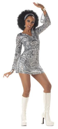 "Details about  /70/'s Disco Dress 2Pc /""Disco Diva/"" Bk//Wt Swirl Print Heat Sequin Mini Dress Scarf"