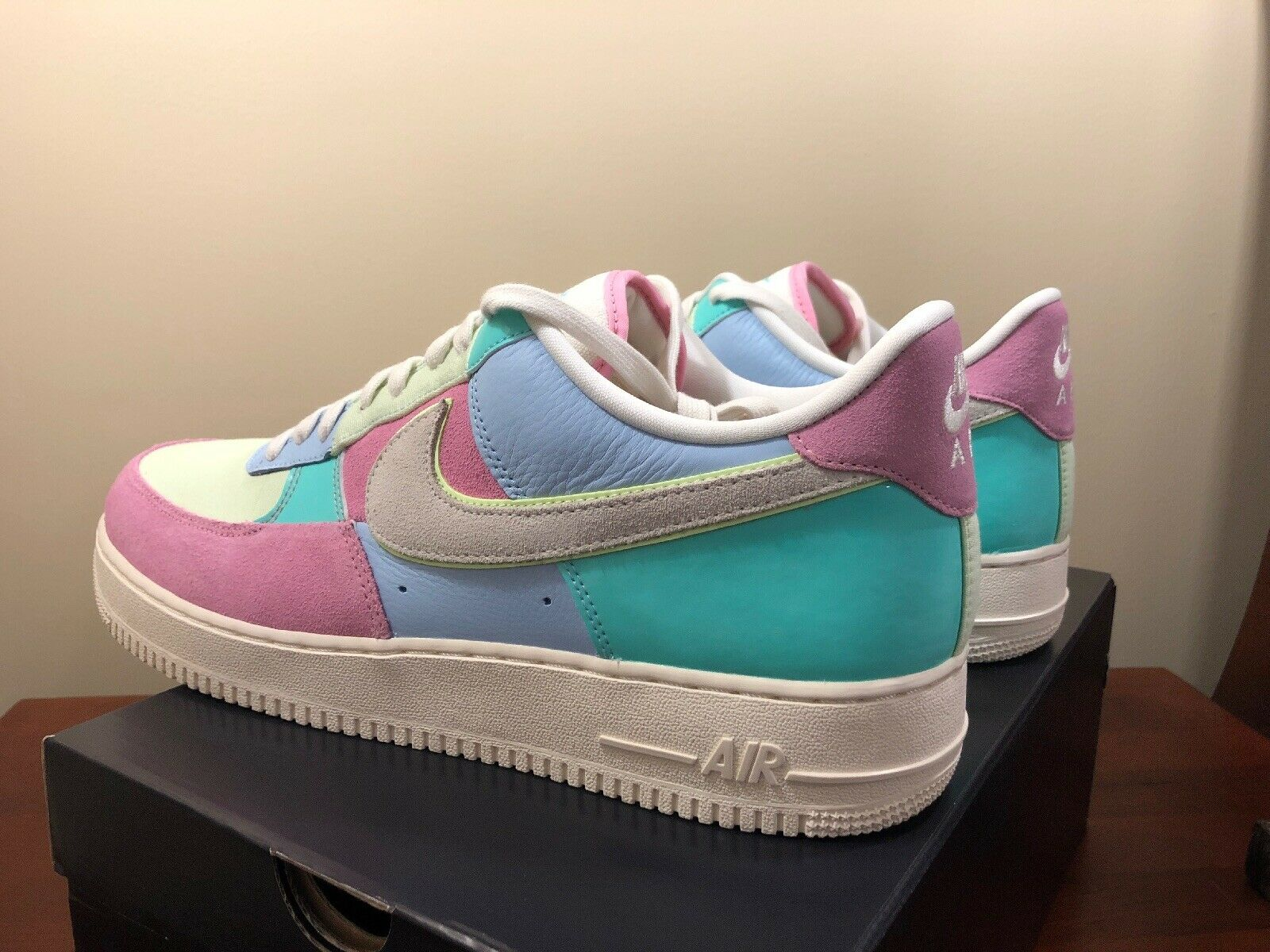 NIKE AIR FORCE 1 07 QS SPRING PATCHWORK [AH8462 400] EASTER EGG PASTEL SZ 14