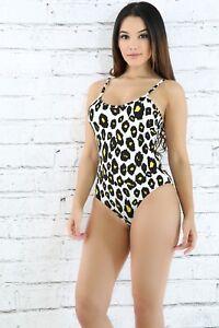 4c538a871a Image is loading Sleeveless-Tan-Leopard-Snap-Crotch-Animal-Print-Bodysuit-