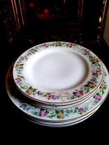 Fraureuth Floral 4 Dinner Plates  & 4 Salad,  set 8  Gold Trim  Vintage