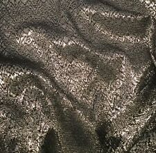 Vintage Black & Silver METALLIC LACE Fabric 1/3 yard remnant
