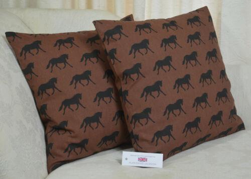 "Handmade CUSHION COVER 17/""x17/"" 43cm sq Black Horses on Brown 100/% Cotton"