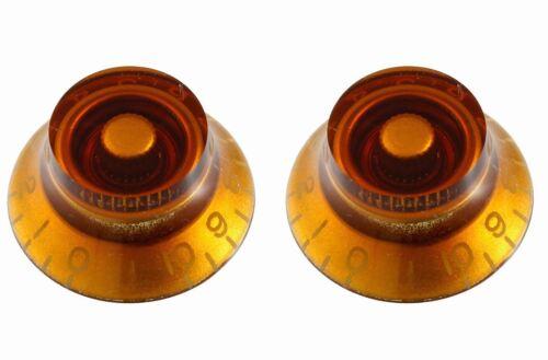 Set of 2 Left-Handed Amber Vintage-style Bell Knobs