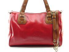 NWOT $348 ~ RALPH LAUREN Large Red Embossed Leather Handbag Satchel Bag