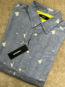 DIESEL-MEN-039-S-BLUE-034-S-OMNI-034-PATTERNED-SLIM-FIT-L-S-SHIRT-TOP-SMALL-NEW-amp-TAGS