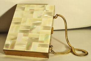 Vintage evening bag make up holder mother of pearl Ansico