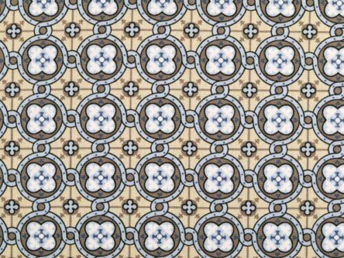 hellblau-braun 145cm Baumwolle Ornament-Blumen Popeline