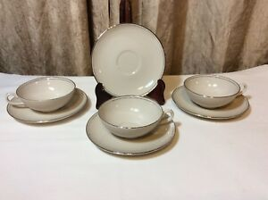 Vintage-Carillon-Harmony-Porcelain-Cup-Saucer-Set-w-Gold-Rim-7-pc-Set-USA