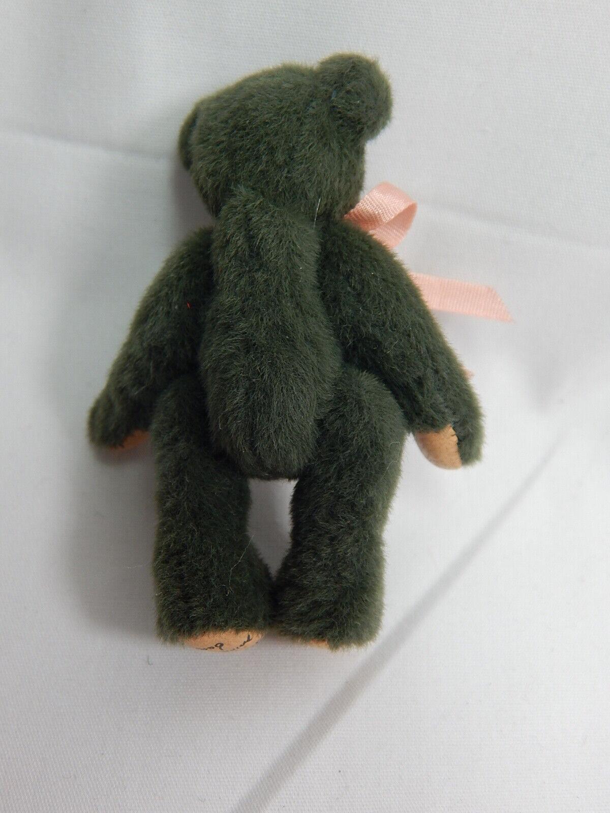 "World of Miniature Bears 2.5/"" Plush Bear Checkers-Green #1036 Collectible Bear"