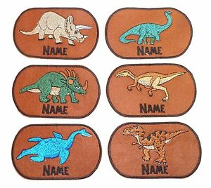 Dinosaurs-Embroidered-Personalised-Sew-on-Iron-on-name-badge-patch-New