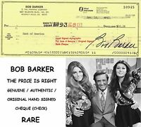 BOB BARKER  AMERICAN  GAME SHOW HOST  HAND SIGNED BANK CHEQUE DATED 1983  RARE