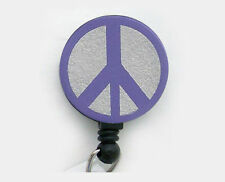 PEACE SIGN Retractable Reel ID Card Badge Holder/Key Chain Ring Security Purple