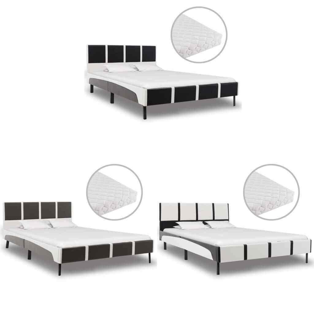 VidaXL Bett mit Matratze Kunstlederbett Polsterbett Doppelbett mehrere Auswahl